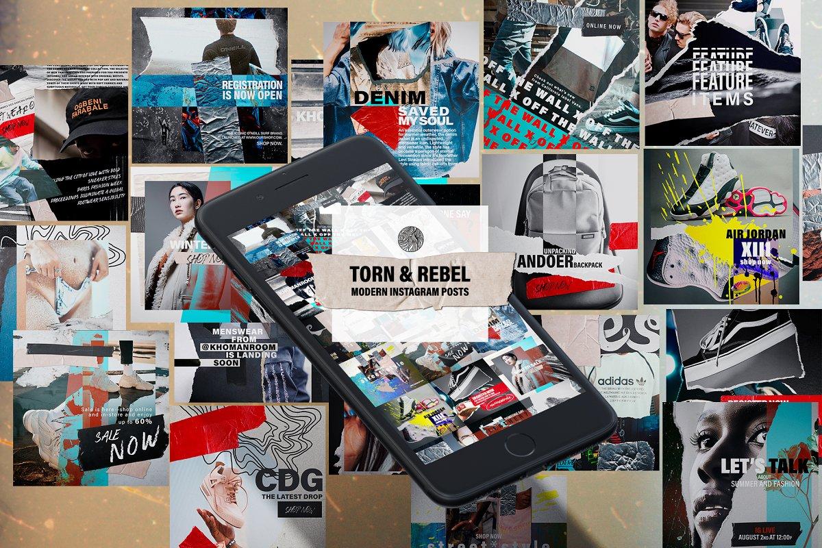 Torn&Rebel Instagram posts ~ Instagram Templates ~ Creative