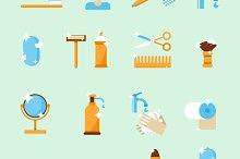 Hygiene set of icons. Flat design