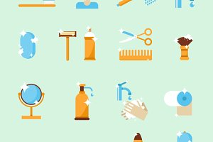 Hygiene set of icons. Flat design