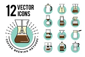Coffee Brewing Methods 12 icons