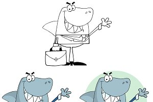 Businessman Shark. Collection Set