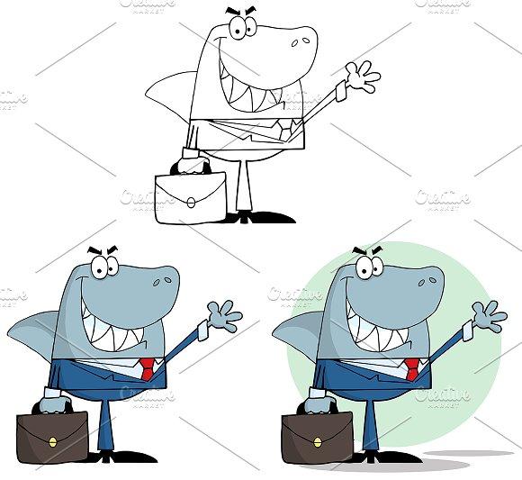 Businessman Shark. Collection Set - Illustrations