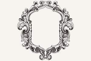 High Ornate Vintage Frame. Vector.