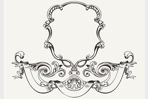 High Ornate Vintage Frame And Banner