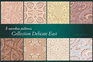Delicate East: 8 seamless patterns