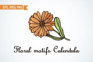 Calendula flower motifs