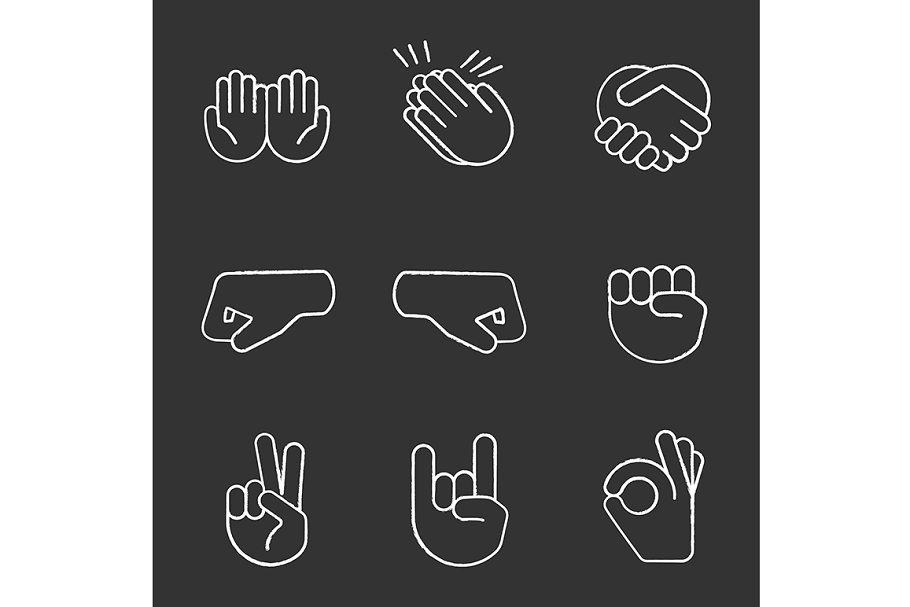 Hand gesture emojis chalk icons set