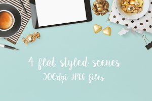 4 flat styled scenes - JPEG files