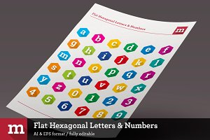 Flat Hexagonal Letters & Numbers