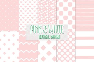 Pink and White digital paper