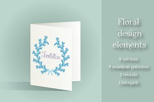 Blue Floral Elements Collection