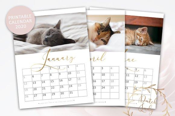 Printable Calendar 2020 Kitten December Printable Monthly Calendar 2020 Cats ~ Templates ~ Creative Market