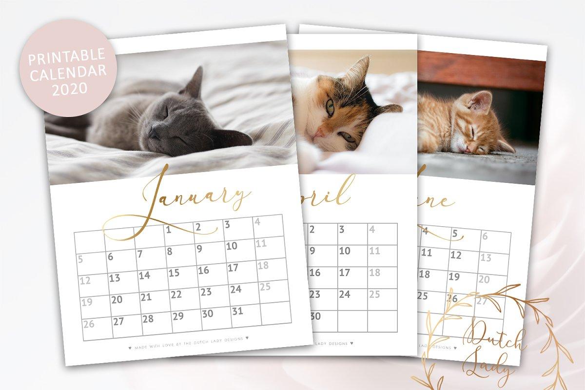 November - December 2020 Calendar Canva Printable Monthly Calendar 2020 Cats ~ Templates ~ Creative Market