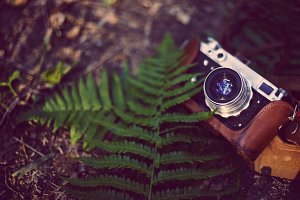 Vintage analog retro film camera in