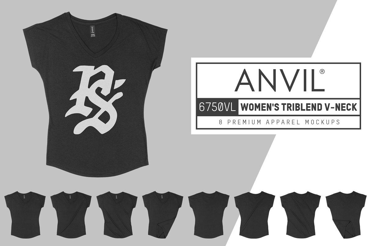 3c025c3e0eb4f2 Anvil 6750VL Women's Triblend V-Neck ~ Product Mockups ~ Creative Market