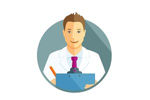 Flat icon of a doctor