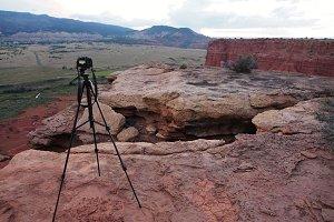 A camera on a Tripod