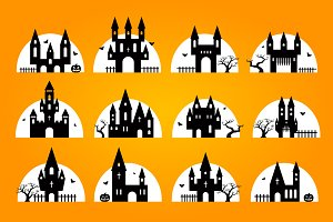 Halloween set of castles