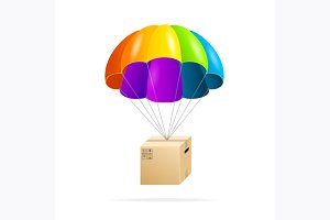 Parachute with Cardboard Box. Vector