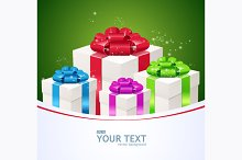 Greeting Card of Gift Boxes. Vector