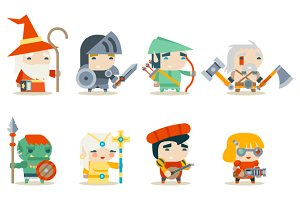 Fantasy RPG Game Character Icons Set