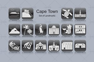Cape Town landmark icons (16x)