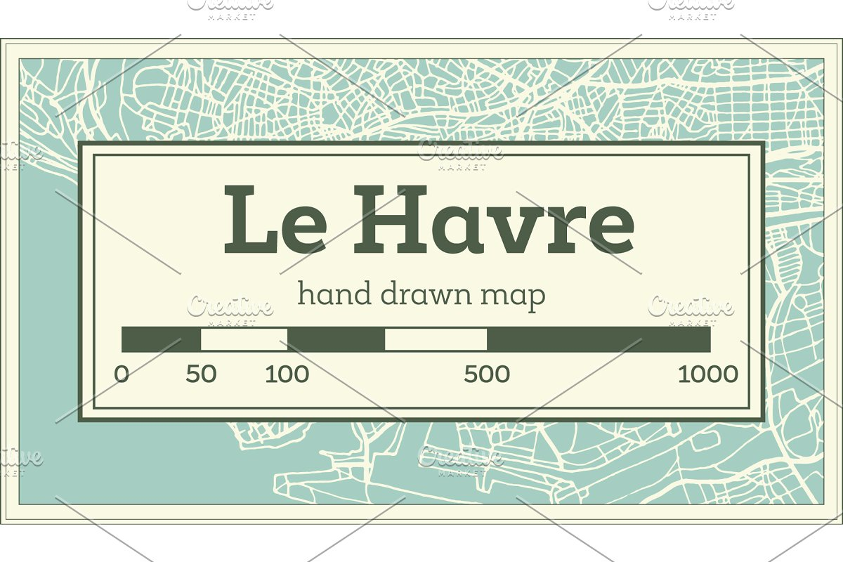 Map Of France Le Havre.Le Havre France City Map In Retro Illustrations Creative Market