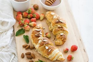 Freshly baked almond croissants