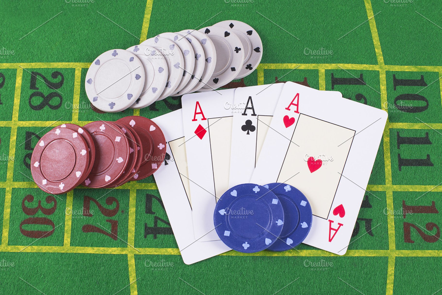 Aces and poker rooms on green carpet