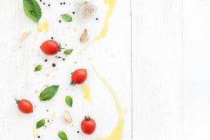 Cherry tomatoes & fresh basil leaves