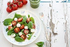 Caprese salad and pesto sauce