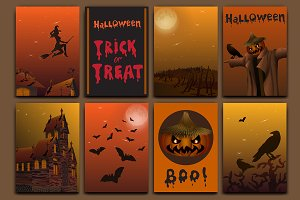 Halloween cards, baners vector set.