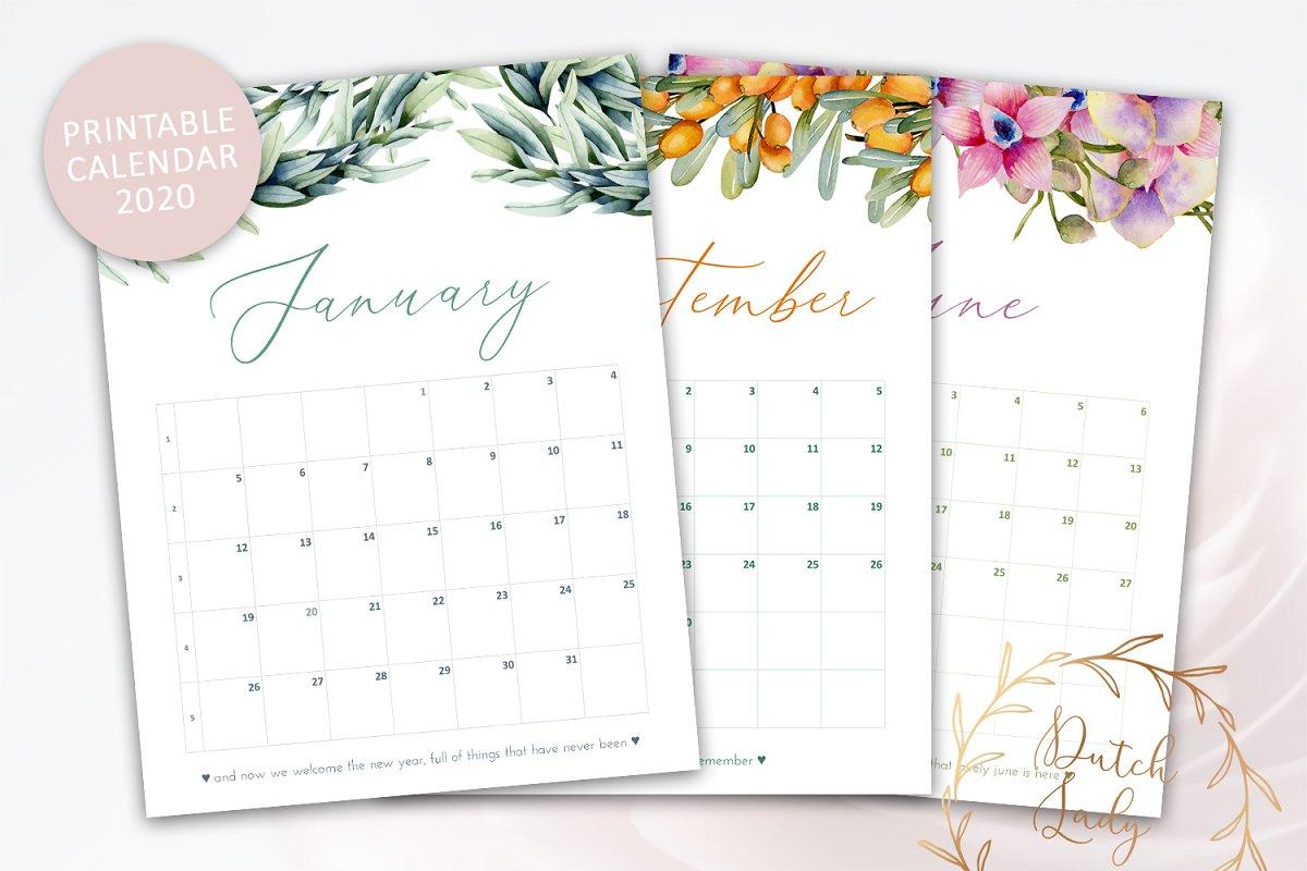 Free Printable Monthly Calendar 2020.Printable Monthly Calendar 2020 Templates Creative Market