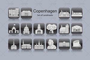 Copenhagen landmark icons (16x)