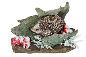 Christmas composition of hedgehog.