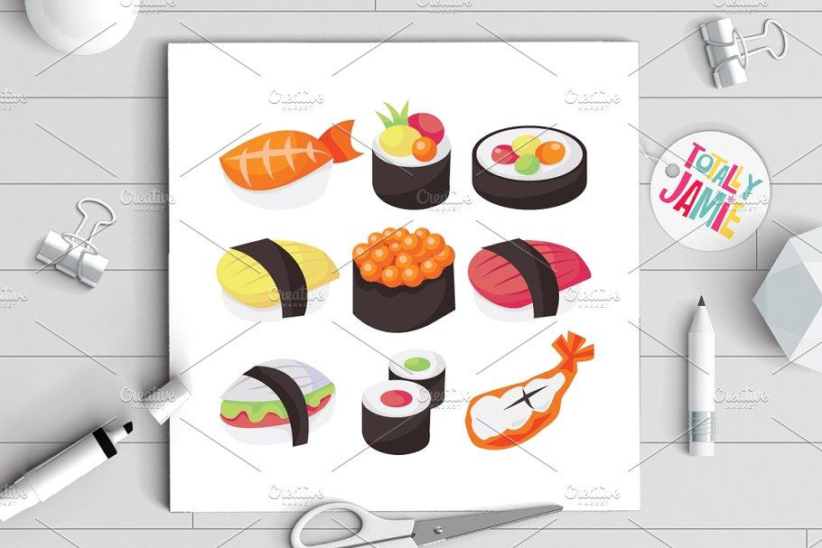 Kawaii Sushi Clipart Illustrations Creative Market