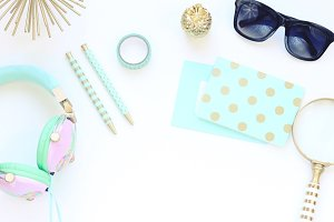 Gold and Teal Styled Stock Photo