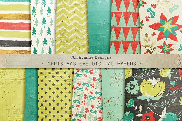 Christmas Eve Digital Papers