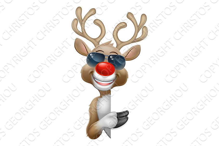 Cool Christmas Reindeer Cartoon