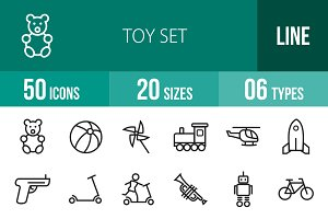 50 Toy Set Line Icons