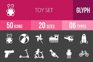 50 Toy Set Glyph Inverted Icons