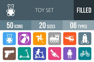 50 Toy Set Flat Round Corner Icons