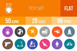 50 Toy Set Flat Round Icons
