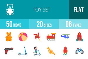 50 Toy Set Flat Multicolor Icons