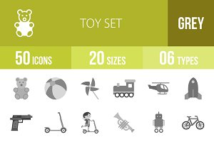 50 Toy Set Greyscale Icons