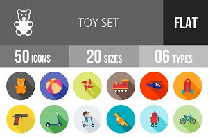 50 Toy Set Flat Shadowed Icons