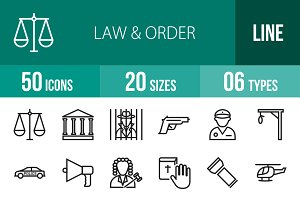 50 Law & Order Line Icons