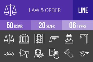 50 Law & Order Line Inverted Icons