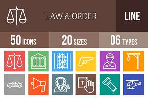 50 Law & Order Line Multicolor Icons