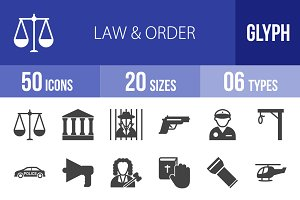 50 Law & Order Glyph Icons